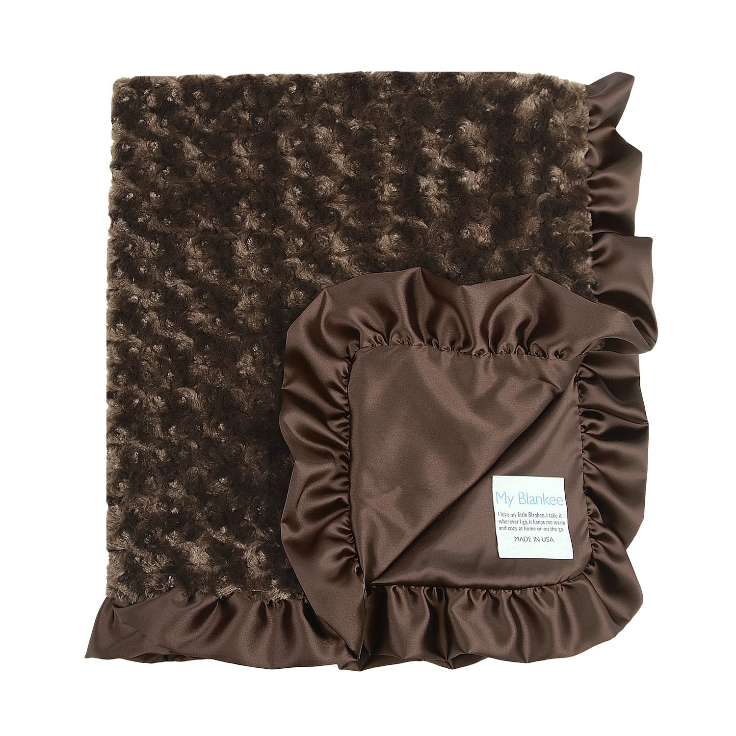 My Blankee Luxe Snail Back Satin Ruffle Satin Border Blanket, Brown, 28' x 35'