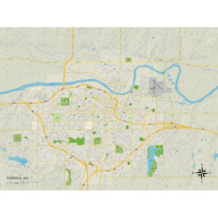 Political Map of Topeka, KS Print Wall Art - Cupcakes Topeka Ks