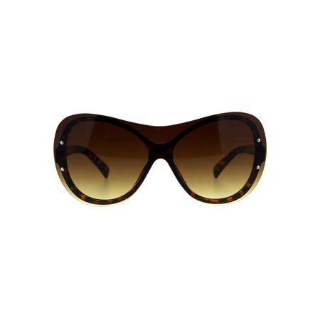 Shield Brown Lens (Womens Oversize Shield Butterfly Exposed Lens Rimless Sunglasses Tortoise)