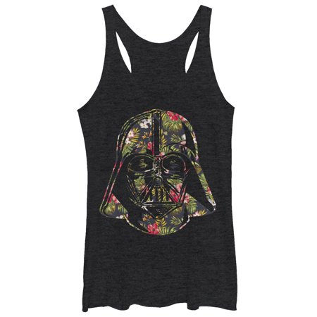 Star Wars Women's Tropical Print Darth Vader Helmet Racerback Tank Top