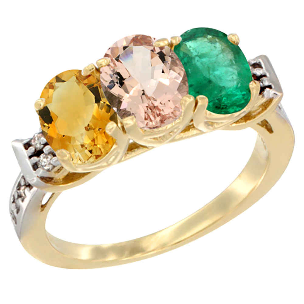 10K Yellow Gold Natural Citrine, Morganite & Emerald Ring 3-Stone Oval 7x5 mm Diamond Accent, sizes 5 10 by WorldJewels