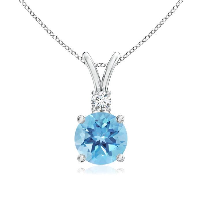 Angara Swiss Blue Topaz Diamond Pendant in Platinum MyjZF