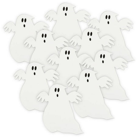 Ghost Halloween Paper Cut Out Decorations, 5 in, White, 10ct - Live Halloween Ghost Hunt