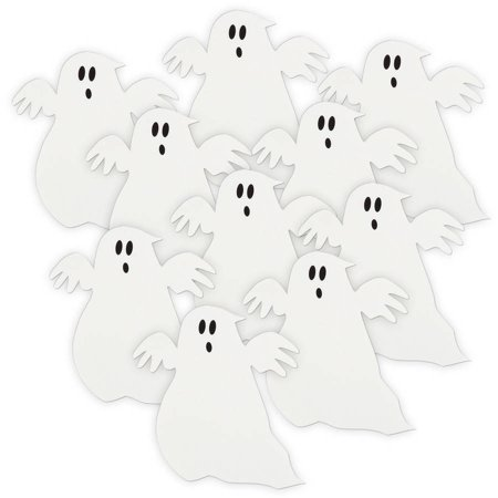 Ghost Halloween Paper Cut Out Decorations, 5 in, White, 10ct - Halloween Trunk Decorations