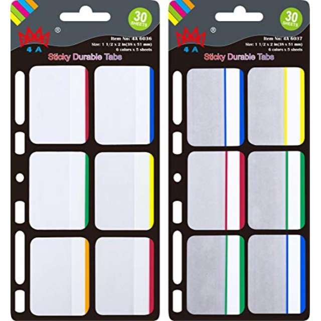 4A Pop-up Durable File Tabs,Divider Tabs,Page Marker Index Label Flags,Transparent Tabs Stickers,Writable Labels,Bookmarks,2 Pads//Set,AAAA 4A 6035