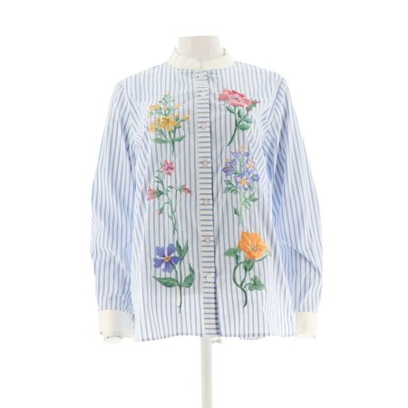 Bob Mackie Floral Embroidered Button Front Shirt A303013 Bob Mackie Embroidered Blouse