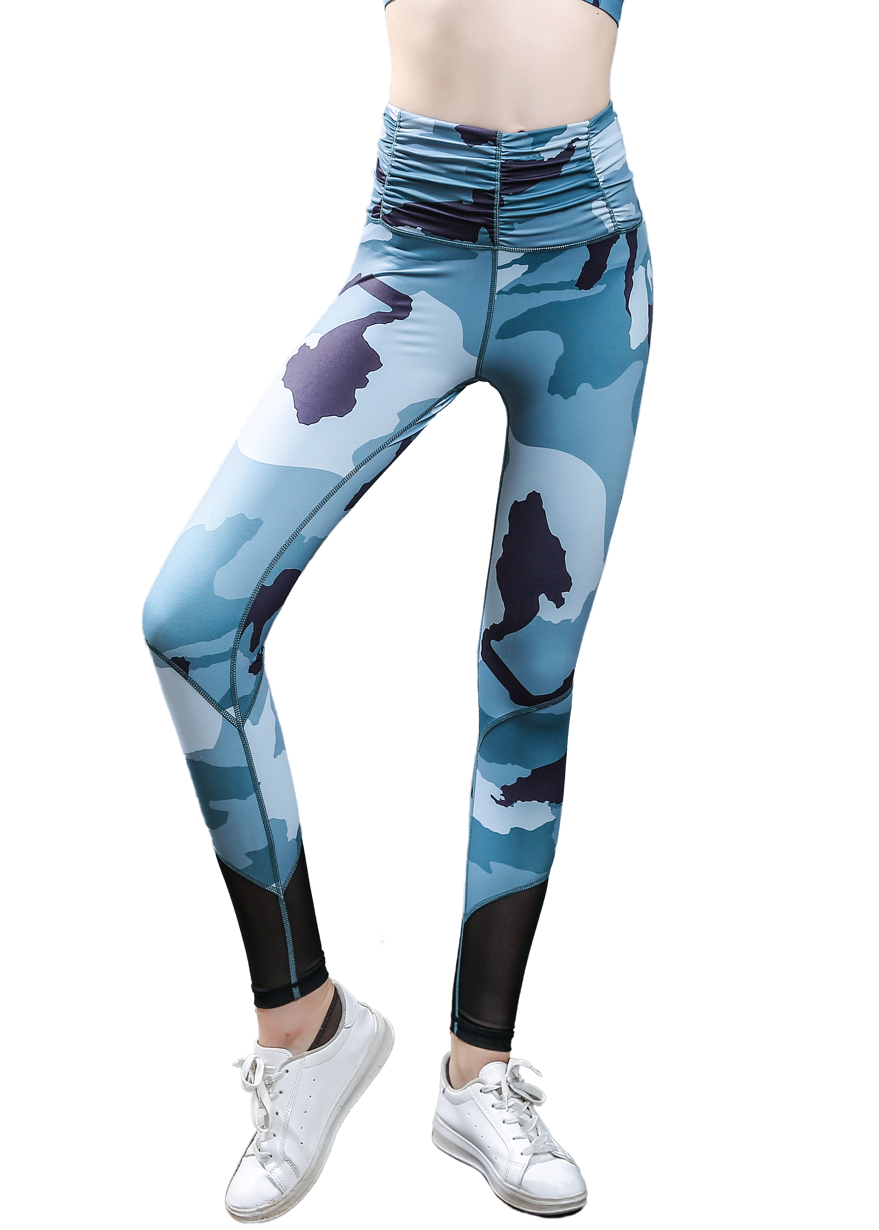Girls or Junior Women's Camouflage print sheer mesh net panel insert Compression Tights Active Stretch Fitness Yoga Pants Running and Jogging Leggings