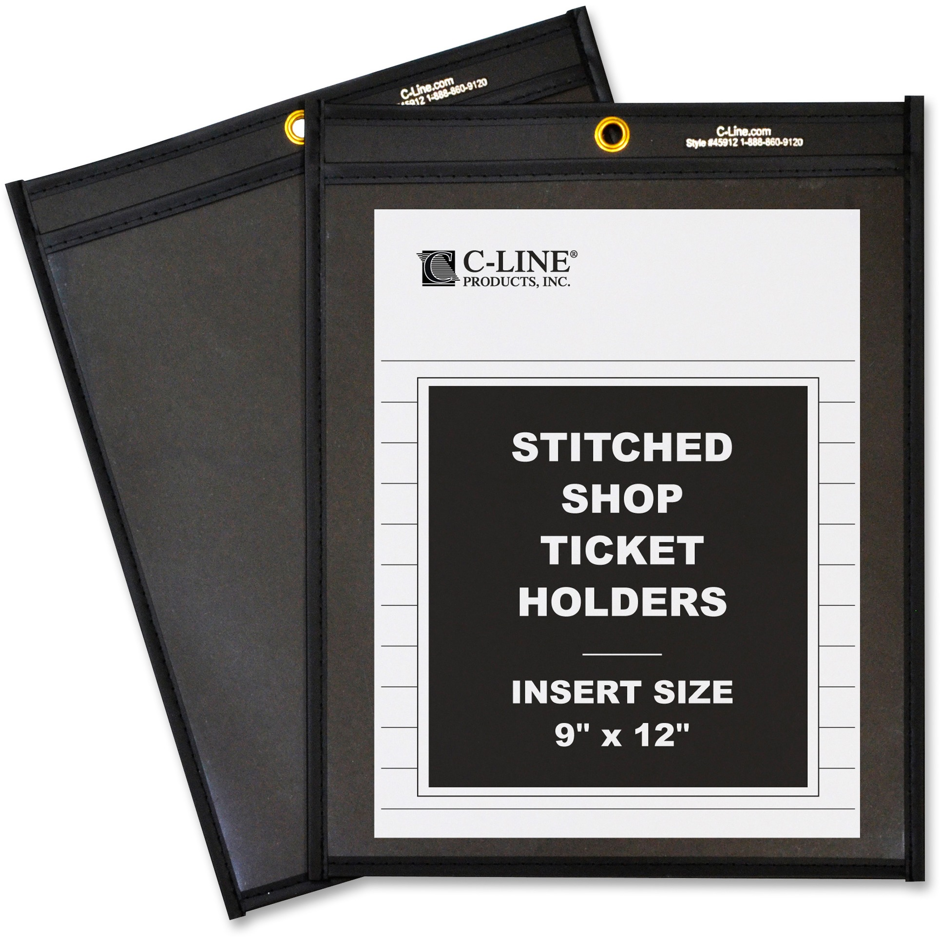 """C-Line Shop Ticket Holders, Stitched, One Side Clear, 75"""", 9 x 12, 25/BX"""