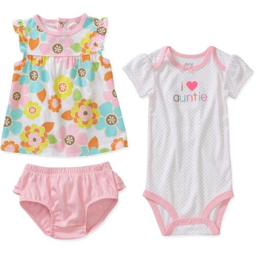 Child of Mine by Carters Newborn Girls' 3 Piece Auntie Shirt, Bodysuit and Bloomer Set