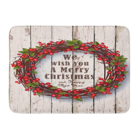 GODPOK Red Xmas White Holiday Christmas Wreath Festive on Rustic Wooden Green Wood Berries Rug Doormat Bath Mat 23.6x15.7 inch ()
