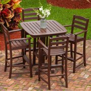 La Casa Cafe 5 Piece Mahogany Recycled Plastic Wood Patio Bar Set W/ 36 Inch Square Table By POLYWOOD