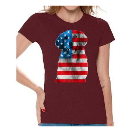 Women's USA Flag Golden Retriever Graphic T-shirt Tops Independence Day Gift