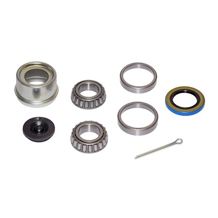 Trailer Bearing Repair Kit for 1 Inch Straight Spindle - Includes E-Z Lube Cap with Plug