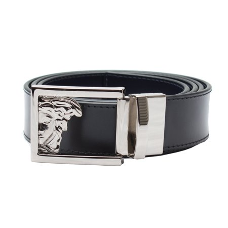 4a2996fa Versace Collection Men's Stainless Steel Medusa Buckle Leather Reversible  Belt Black/Navy