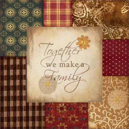 Quilting Canvas (Together Family Americana Folk Patchwork Primitive Pattern Inspirational Painting Red & Tan Canvas Art by Pied Piper Creative )