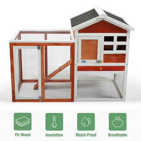 Topcobe Indoor Outdoor Rabbit Hutch, Wooden Large Chicken Coop w/ Nesting Box, Waterproof Backyard Garden Bunny Poultry Cage Hen House for Pet Animal ()