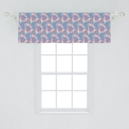Flower Window Valance, Abstract Colorful Dandelion Pattern with Striped Background Burlap Inspired Design, Curtain Valance for Kitchen Bedroom Decor with Rod Pocket, by Ambesonne