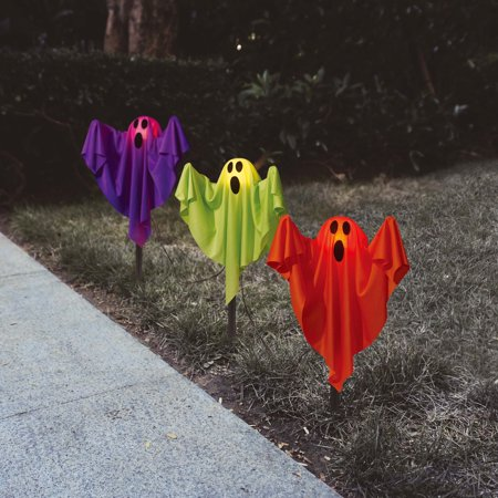 Ghost Fabric Halloween Lawn Stakes, Set Of 3 Halloween Decoration