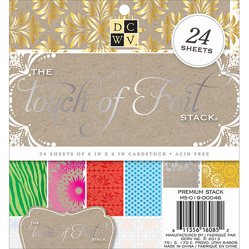 """Die-Cuts with a View 6"""" x 6"""" Touch of Foil Cardstock Paper Stack, 24 Sheets"""