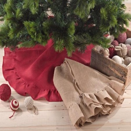 Holiday Décor Ruffle Trim Jute Burlap Xmas Tree Skirt, 53-inch Round (Red) ()