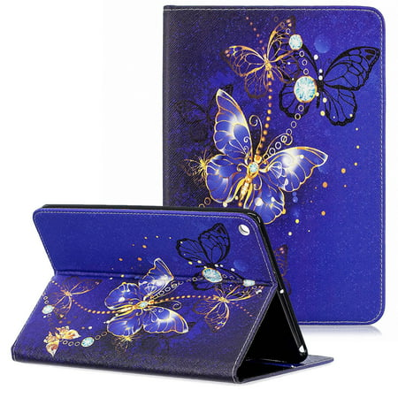 Allytech iPad Mini 5 Case 2019, iPad Mini 5st Generation Case, Ultra Slim PU Leather Cute Pattern Folio Stand Lightweight Anti-Scratch Soft Rubber Back Cover Case for Apple iPad Mini 5,Blue