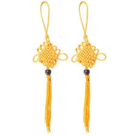 Unique Bargains 2 Pcs Blue Glass Beaded Chinese Knot Hanger Ornament Yellow
