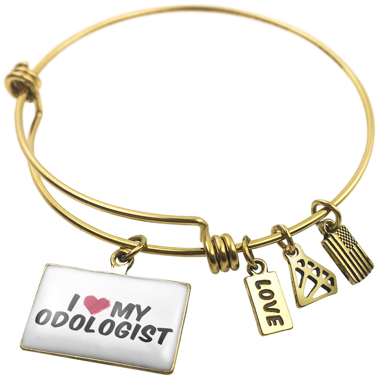 Expandable Wire Bangle Bracelet I heart love my Odologist - NEONBLOND