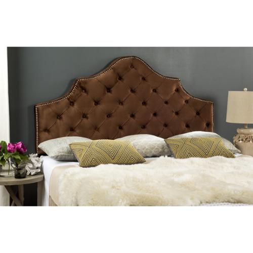 Safavieh Arebelle Chocolate Velvet Upholstered Tufted Headboard Silver Nailhead (Queen) by Overstock