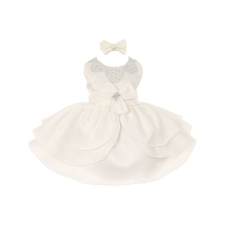 Baby Girls Ivory Rhinestud Bow Special Occasion Dress - Baby Girl Special Occasion Dress