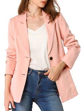 Allegra K Junior's Long Sleeve Button Notch Lapel Blazer Jacket XL (15) Pink