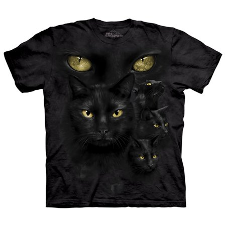 Black Cat Moon Eyes Adult T Shirt Tee