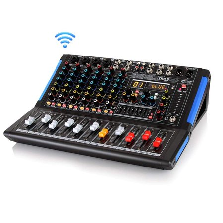 8-Channel Bluetooth Studio Audio Mixer - DJ Sound Controller Interface w/ USB Drive for PC Recording Input, XLR Microphone Jack, 48V Power, RCA Input/Output for Professional and Beginners - (Live Sound Audio Mixer)