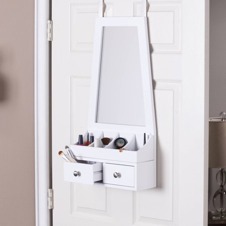 southern enterprises lavada over the door mirror accessory organizer white. Black Bedroom Furniture Sets. Home Design Ideas