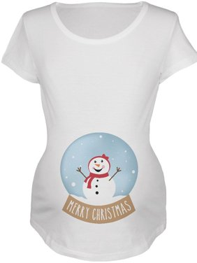 Merry Christmas Snow Globe Snowwoman Maternity Soft T Shirt Red MD
