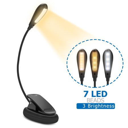 Led Book Light, Rechargeable 7 LED Eye-care Gooseneck Reading Lamp, 3-level Brightness (Cool/Warm) and Flexible Easy Clip On Music Stand Light for Night Reading, Kindle, Flight ,Travel ,Kids 2 Led Book Light