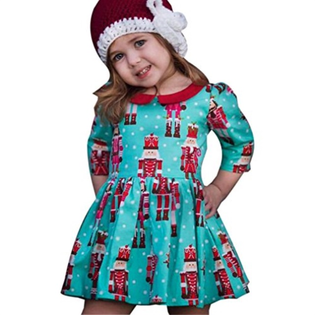 Toddler Baby Kids Girls Santa StripedChristmas Outfits Clothes Princess Dress