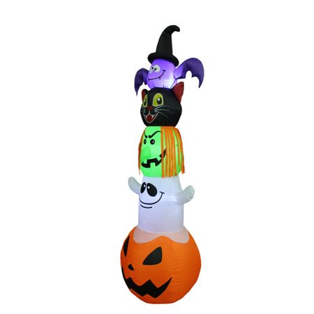 The Holiday Aisle Halloween Inflatable Stacked Bat, Black Cat, Witch, Ghost, and Pumpkin