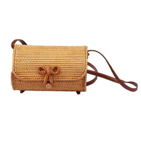 Shoulder Leather Straps Natural Chic Handbag Handwoven Round Rattan Bag