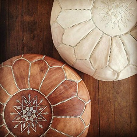 Astounding Set Of 2 Amazing Moroccan Pouf Tan Natural Leather Pouf Creativecarmelina Interior Chair Design Creativecarmelinacom