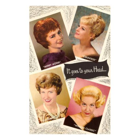 4 60's Hair Styles, Retro Print Wall - 60's Decor