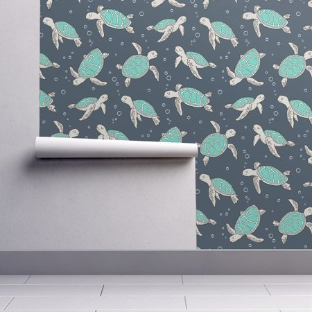 Removable Water Activated Wallpaper Sea Turtle Fish Nautical Summer Oc