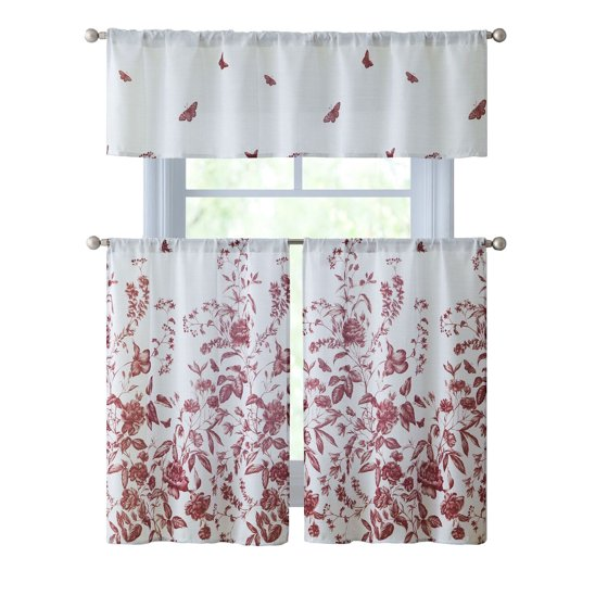 VCNY Home Estela Floral Kitchen Curtain Tier & Valance Set