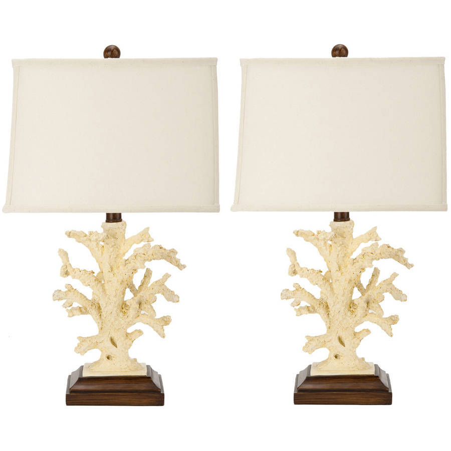 Safavieh Key West Coral Lamp with CFL Bulb, Cream with Off-White Shade, Set of 2