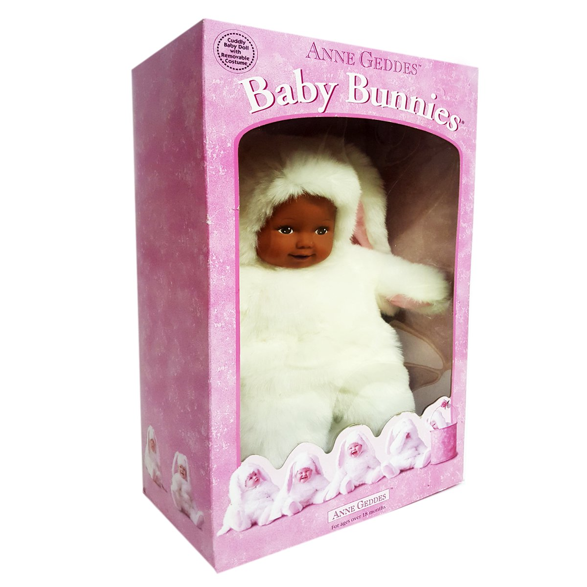 """1997 Anne Geddes Baby Bunnies Doll 15"""" Ethnic African American Ages 18+ Months by Unimax Toys"""