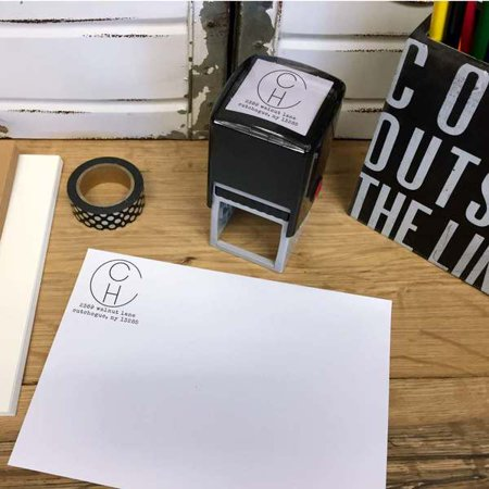 Personalized Square Self Inking Rubber Stamp - Large Monogram (Personalized Shelf)