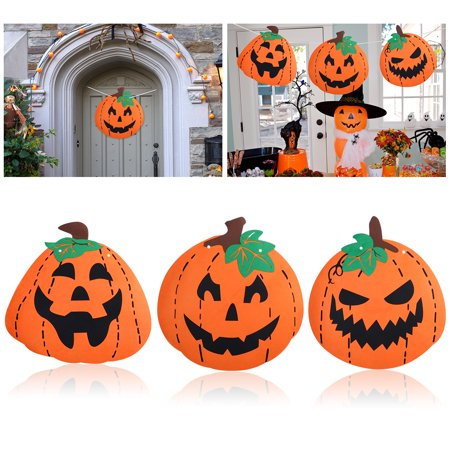 TINKSKY 3pcs Halloween Pumpkin Decoration Felt Huge Pumpkin Banner with 6M String and Threading Stick for Happy Hlloween Decoration