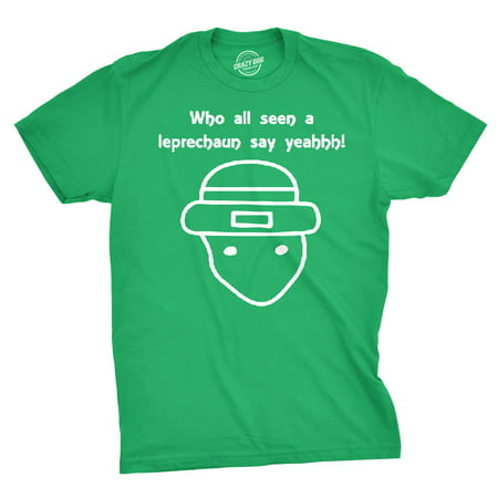 Who All Seen a Leprechaun Sketch T-Shirt Funny Viral Irish Shirt