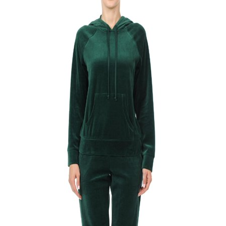 Made by Olivia Women's Casual Basic Solid Soft Velour Pullover Hoodie Sweatsuit Set Hunter Green