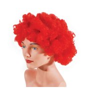 Star Power Curly Fluffy Afro Clown Adult Costume Wig, Red, One Size