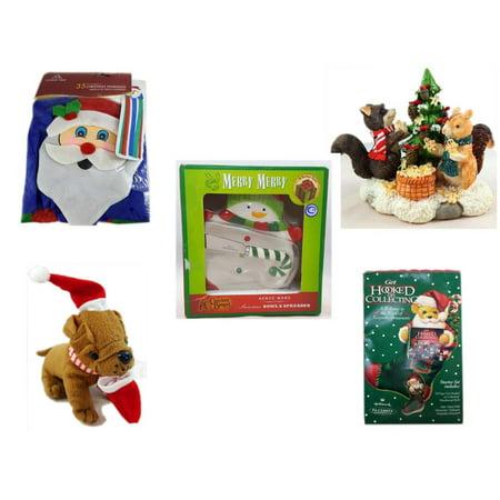 Christmas Fun Gift Bundle [5 Piece] -  Time  Windsock Santa - Forest Friends Gingerbread Tree Resin Figurine - Cracker Barrel Serveware Snowman Bowl & Spreader -  Santa Bulldog  5